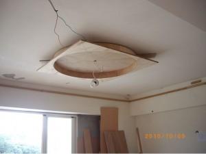 圓形天花板先用木心板作出圓形